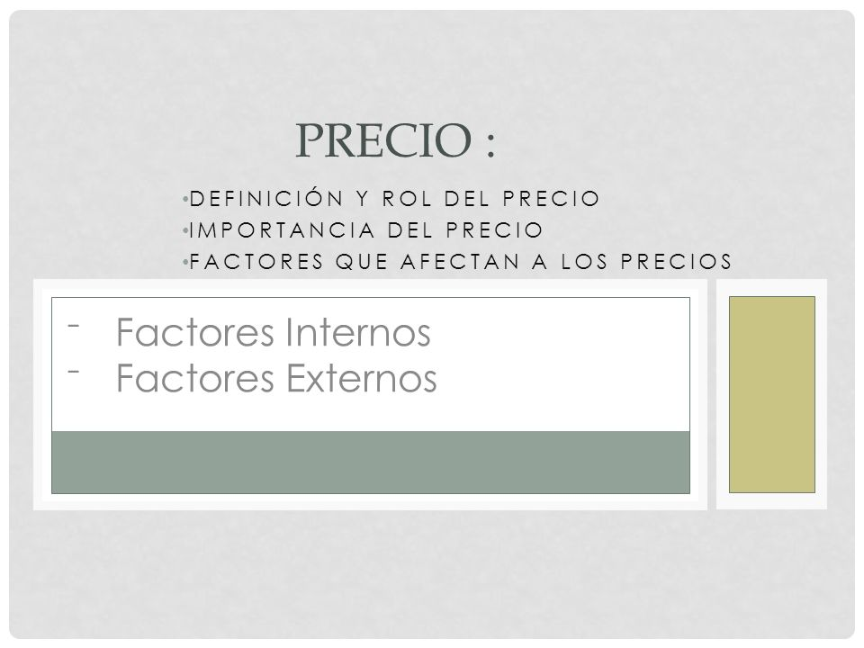 PRECIO : Factores Internos Factores Externos