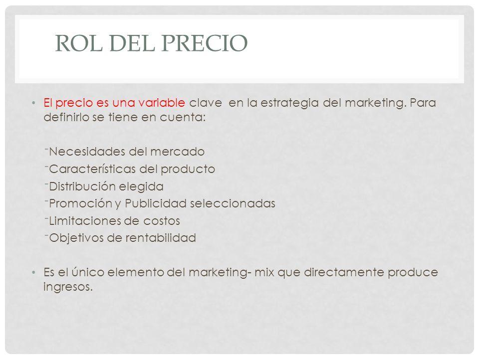 Rol del Precio El precio es una variable clave en la estrategia del marketing. Para definirlo se tiene en cuenta: