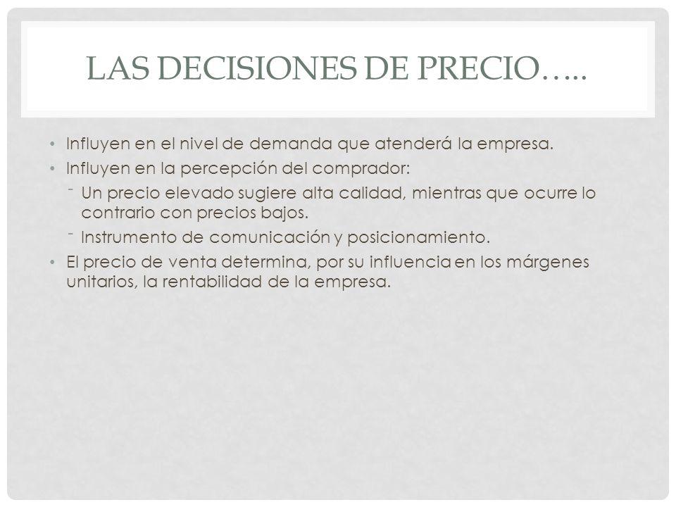 Las decisiones de precio…..