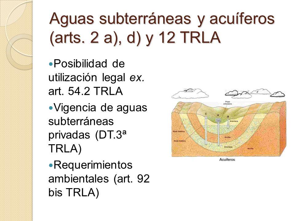 Aguas subterráneas y acuíferos (arts. 2 a), d) y 12 TRLA