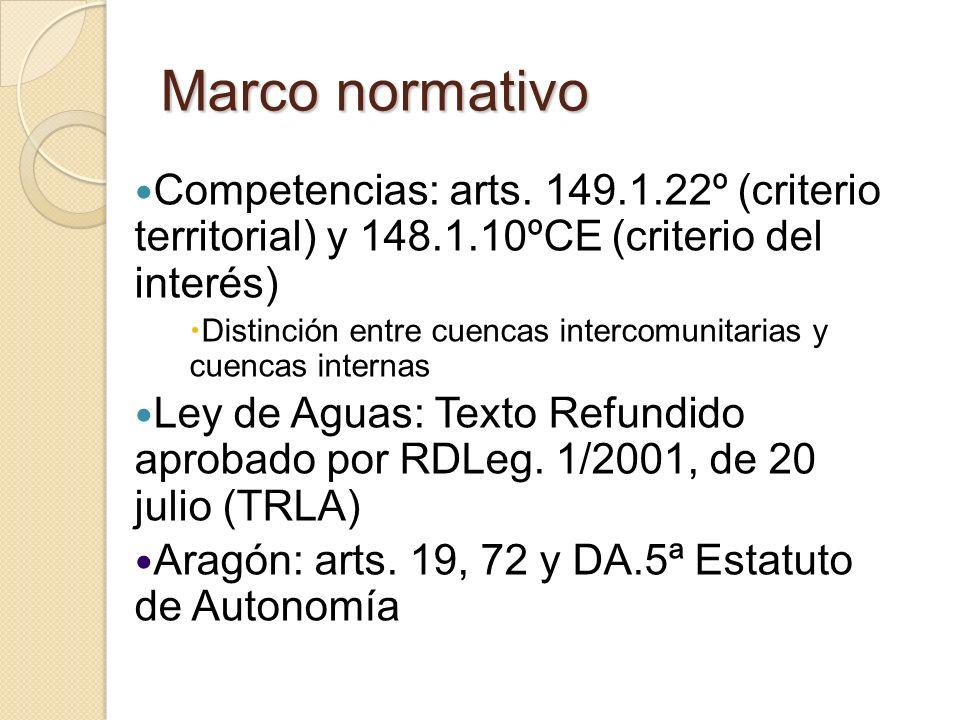 Marco normativo Competencias: arts. 149.1.22º (criterio territorial) y 148.1.10ºCE (criterio del interés)
