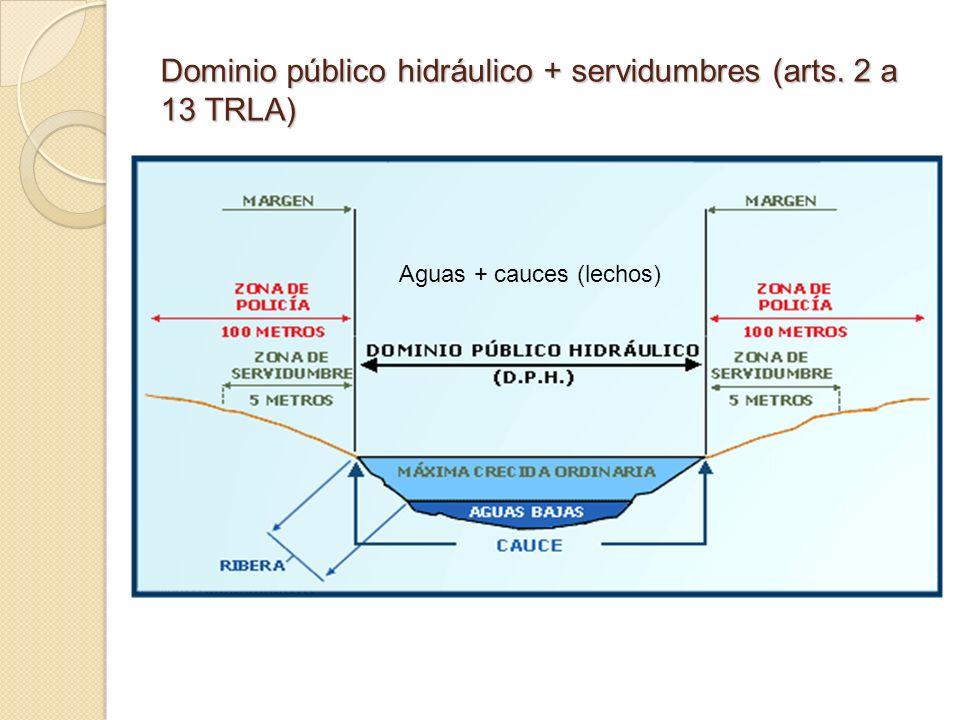 Dominio público hidráulico + servidumbres (arts. 2 a 13 TRLA)