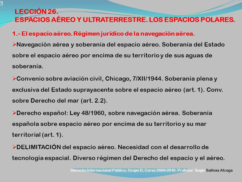 ESPACIOS AÉREO Y ULTRATERRESTRE. LOS ESPACIOS POLARES.