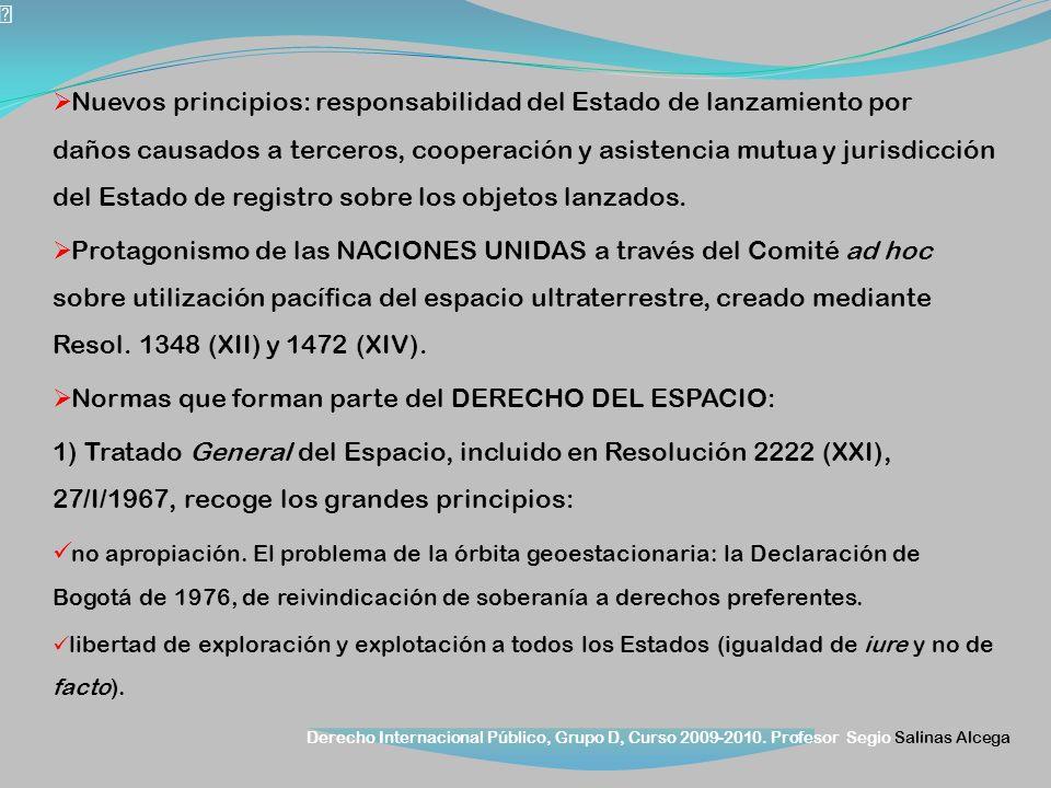 Normas que forman parte del DERECHO DEL ESPACIO: