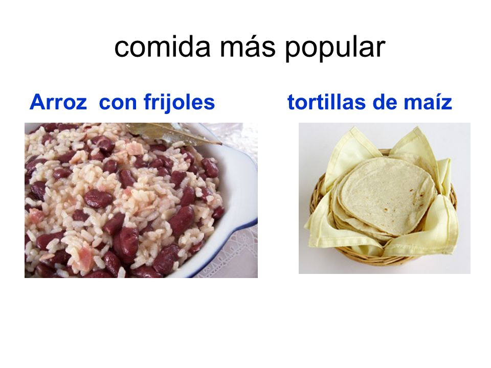 comida más popular Arroz con frijoles tortillas de maíz