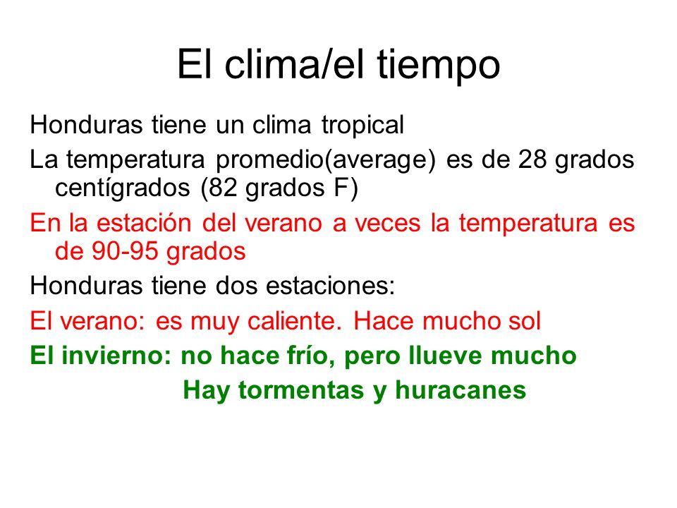 El clima/el tiempo Honduras tiene un clima tropical