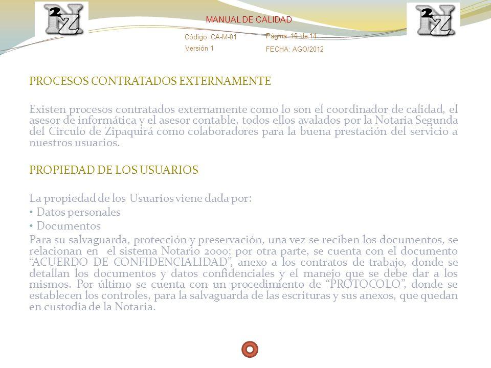 PROCESOS CONTRATADOS EXTERNAMENTE