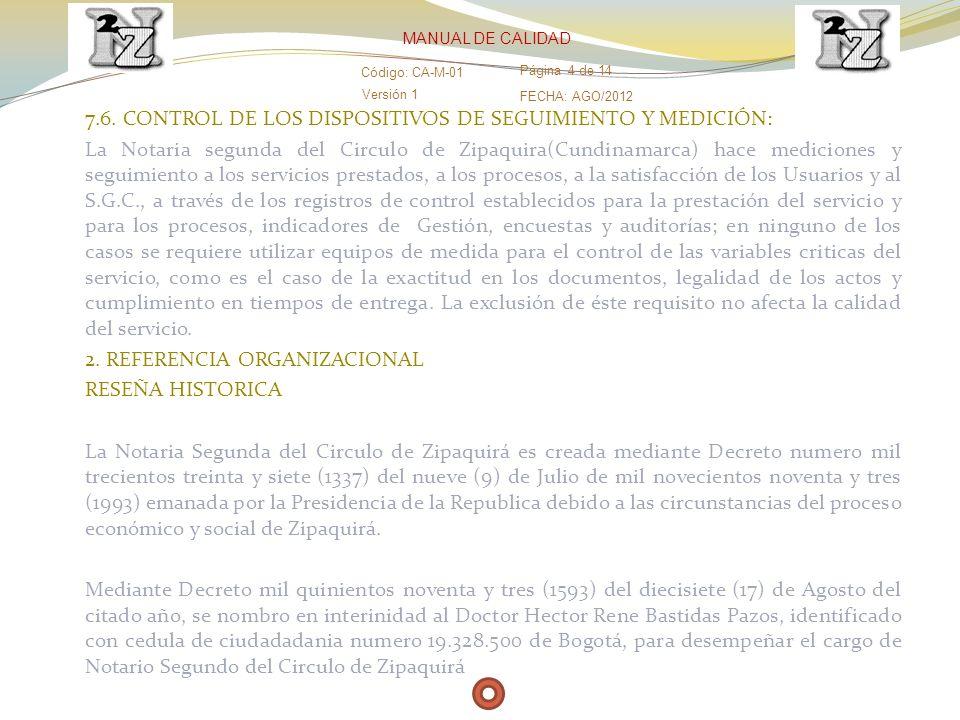 7.6. CONTROL DE LOS DISPOSITIVOS DE SEGUIMIENTO Y MEDICIÓN:
