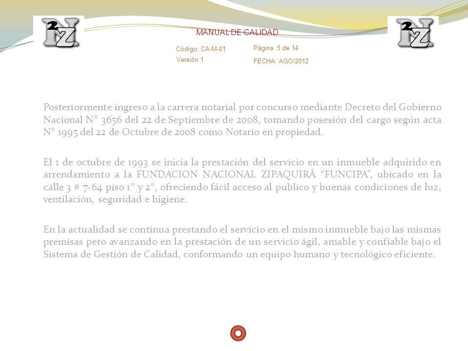 MANUAL DE CALIDAD Código: CA-M-01. Página 5 de 14. Versión 1. FECHA: AGO/2012.