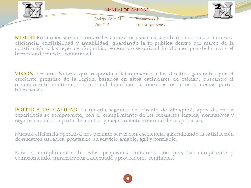 MANUAL DE CALIDAD Código: CA-M-01. Página 6 de 14. Versión 1. FECHA: AGO/2012.