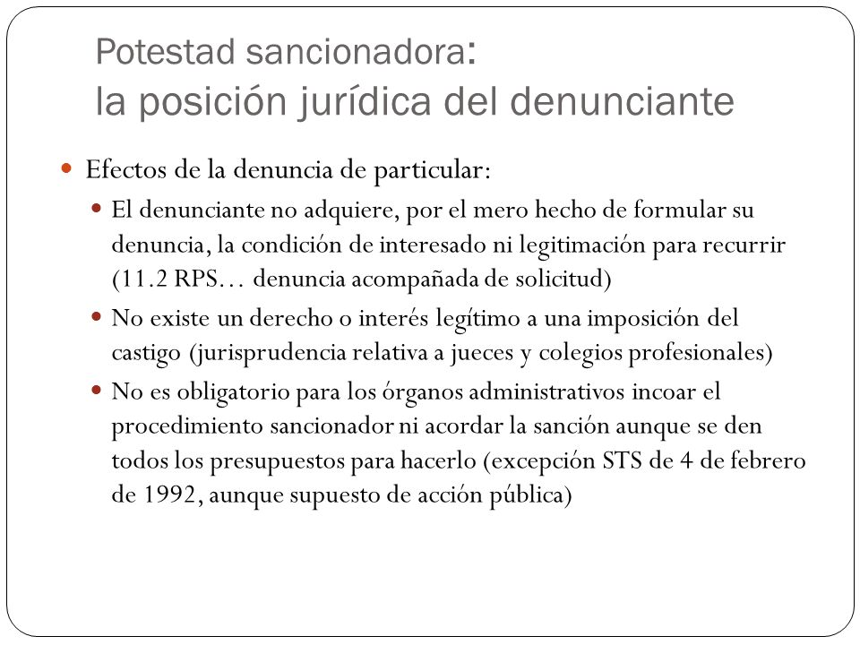 Potestad sancionadora: la posición jurídica del denunciante