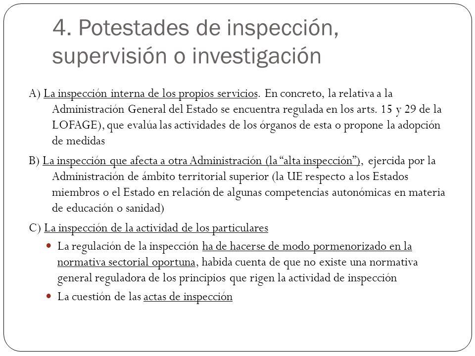 4. Potestades de inspección, supervisión o investigación