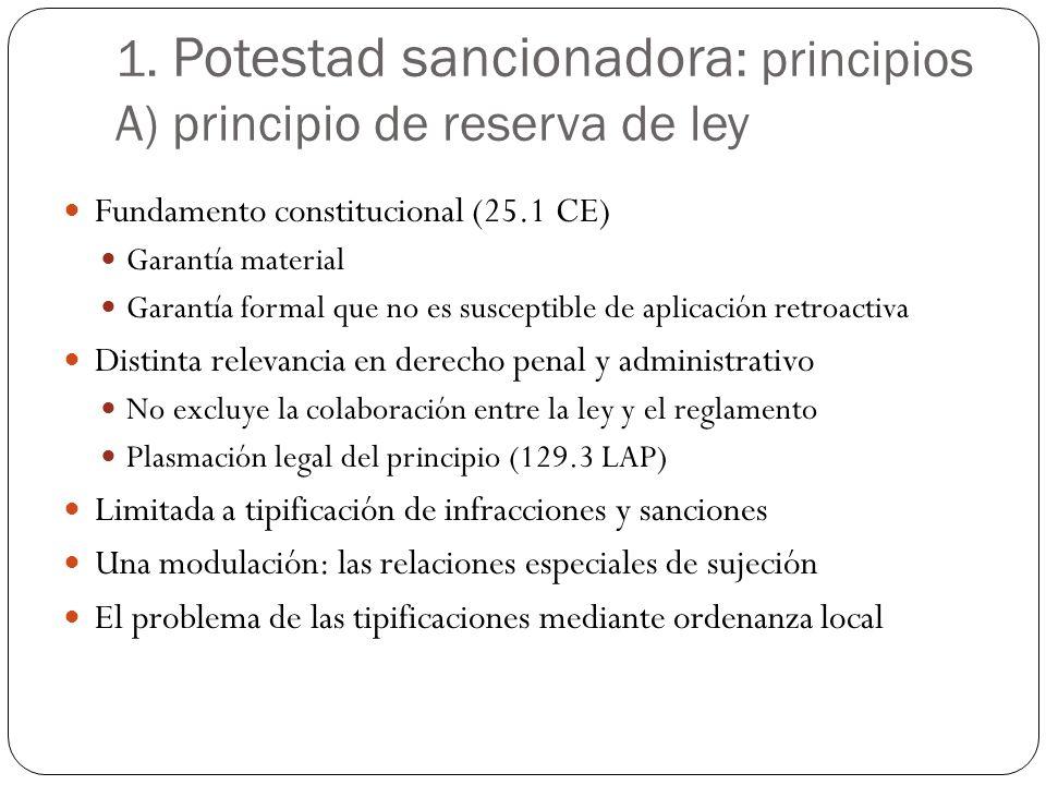 1. Potestad sancionadora: principios A) principio de reserva de ley