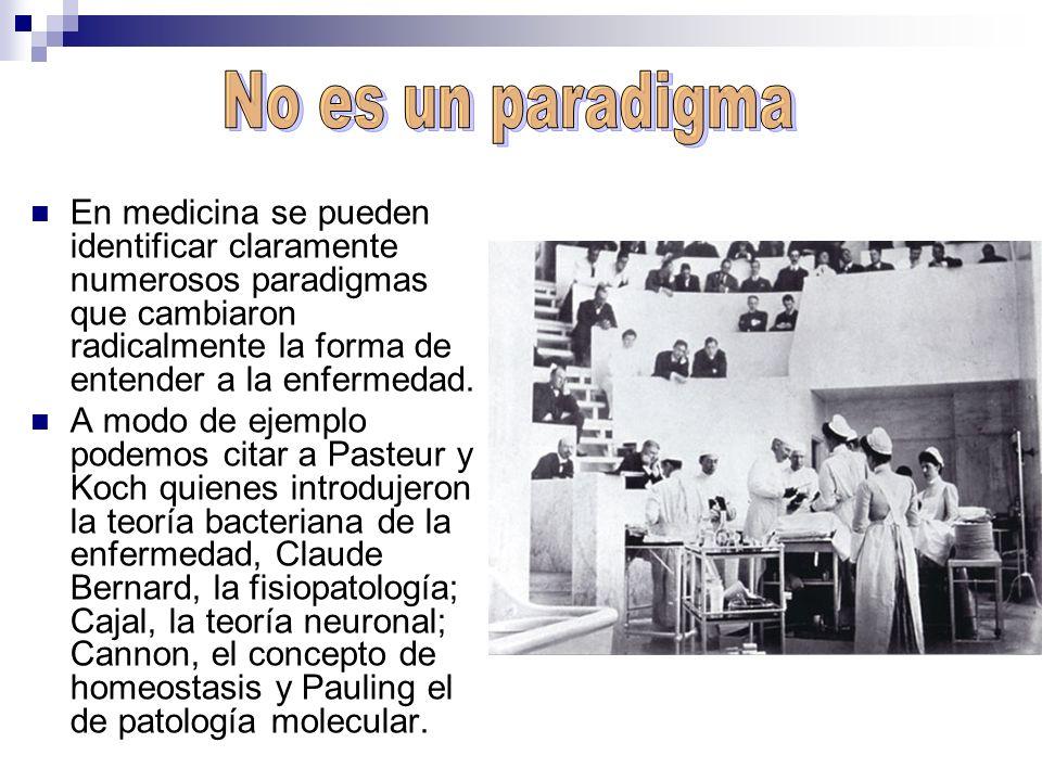 No es un paradigma En medicina se pueden identificar claramente numerosos paradigmas que cambiaron radicalmente la forma de entender a la enfermedad.