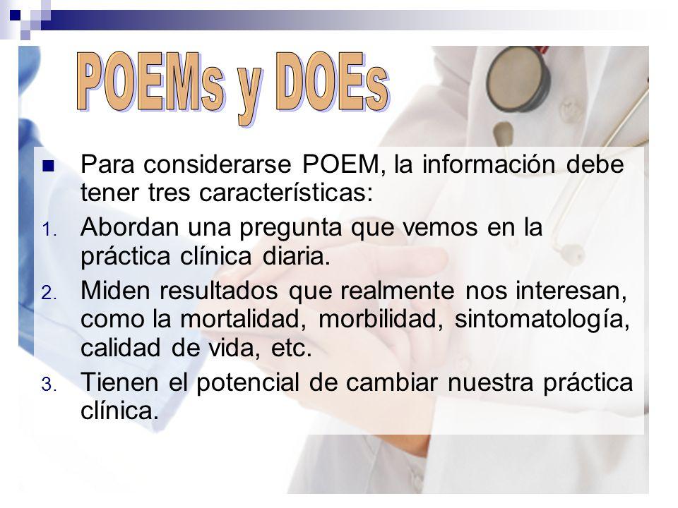 POEMs y DOEs Para considerarse POEM, la información debe tener tres características: Abordan una pregunta que vemos en la práctica clínica diaria.