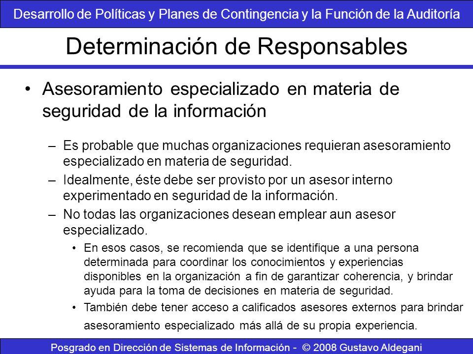 Determinación de Responsables