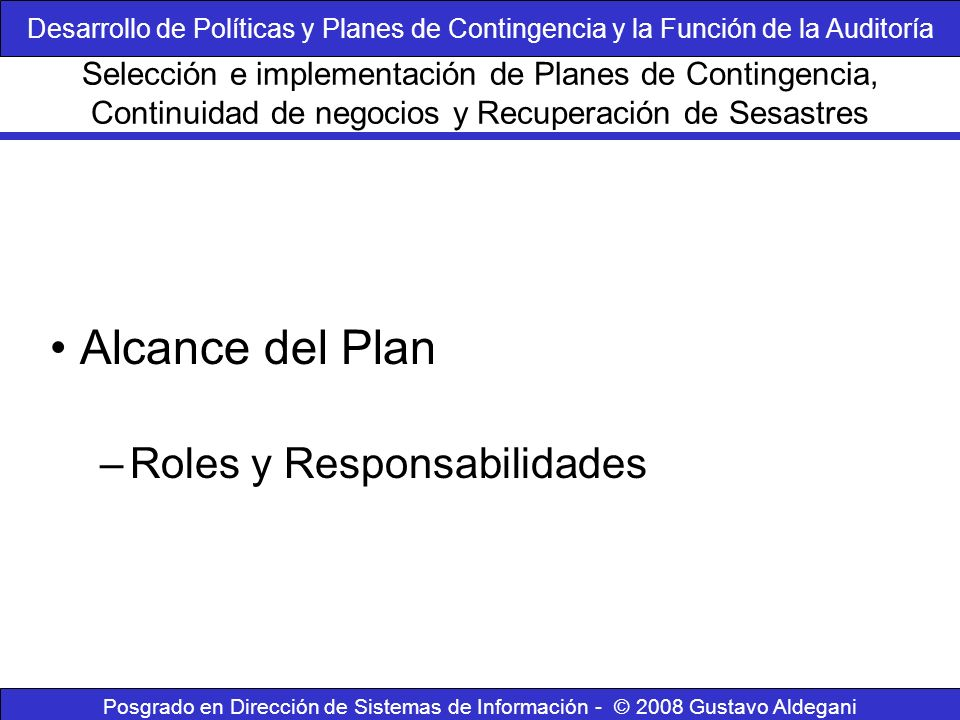Alcance del Plan Roles y Responsabilidades