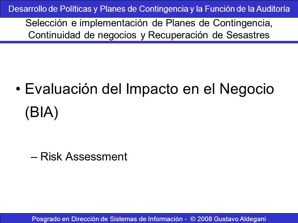 Evaluación del Impacto en el Negocio (BIA)