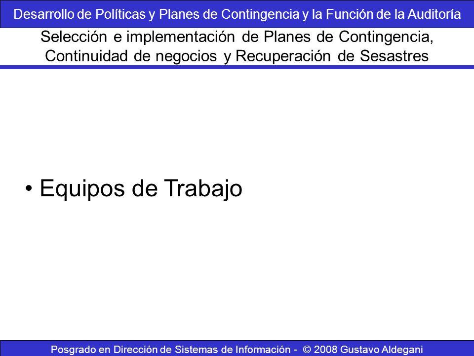Desarrollo de Políticas y Planes de Contingencia y la Función de la Auditoría