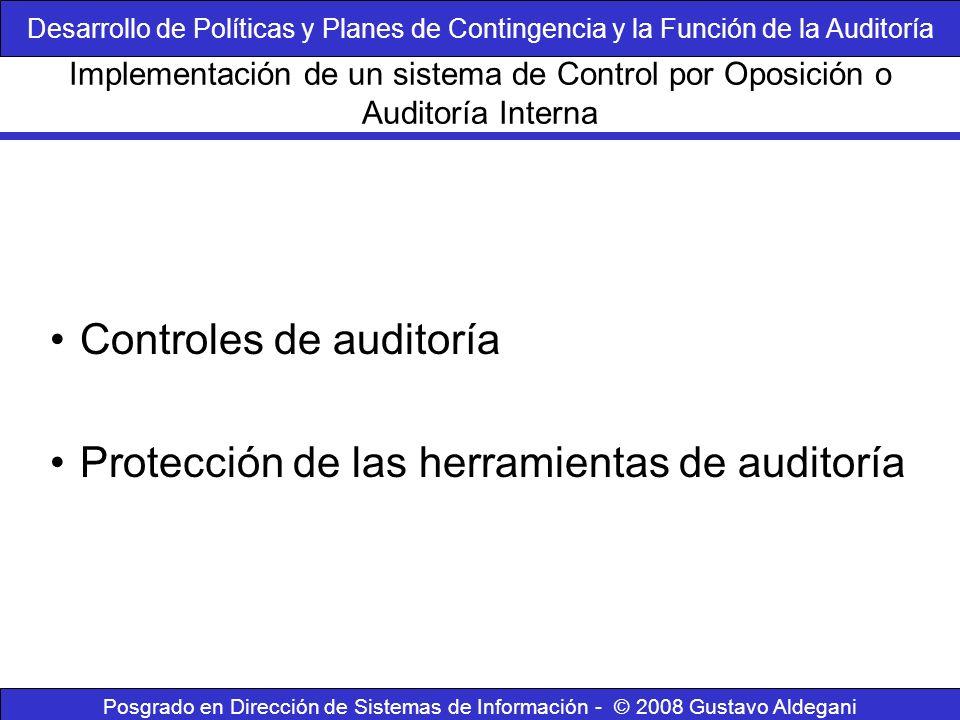 Controles de auditoría Protección de las herramientas de auditoría