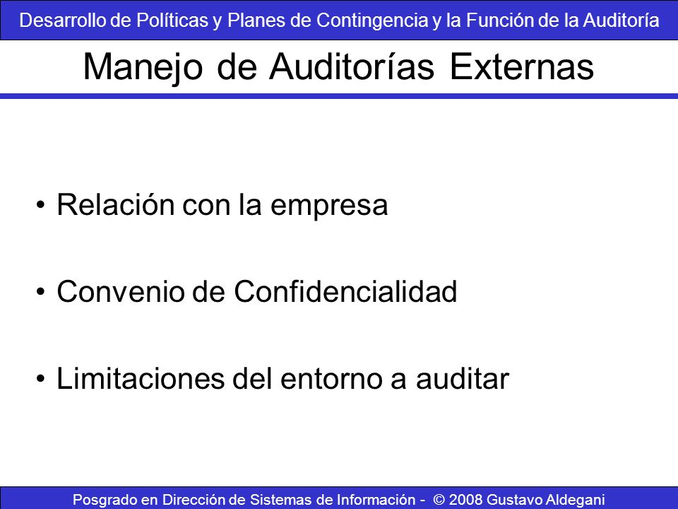 Manejo de Auditorías Externas