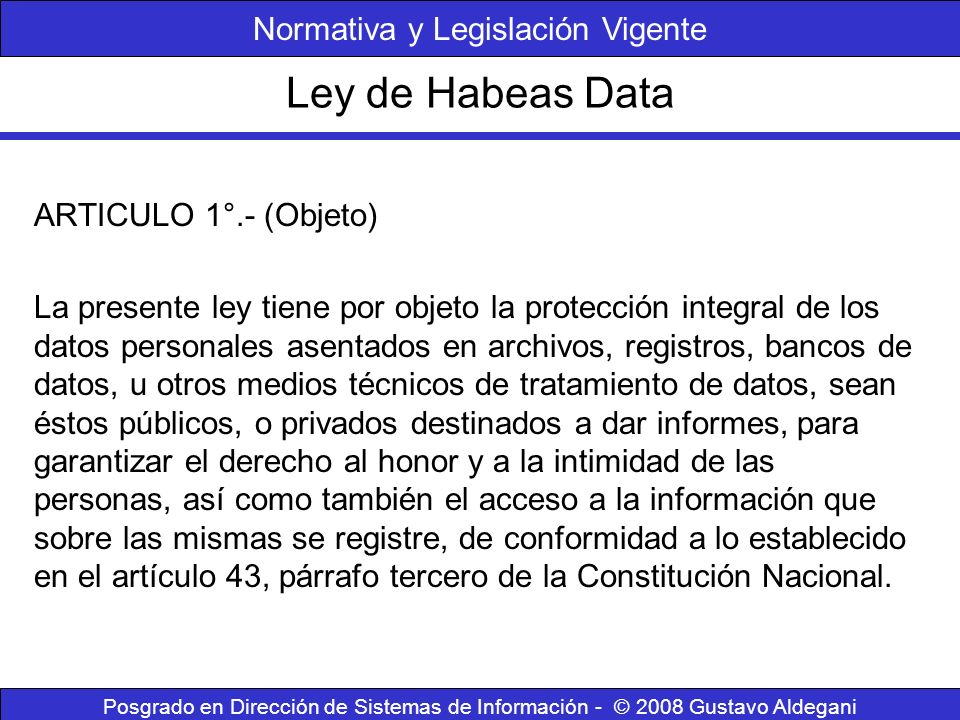 Normativa y Legislación Vigente