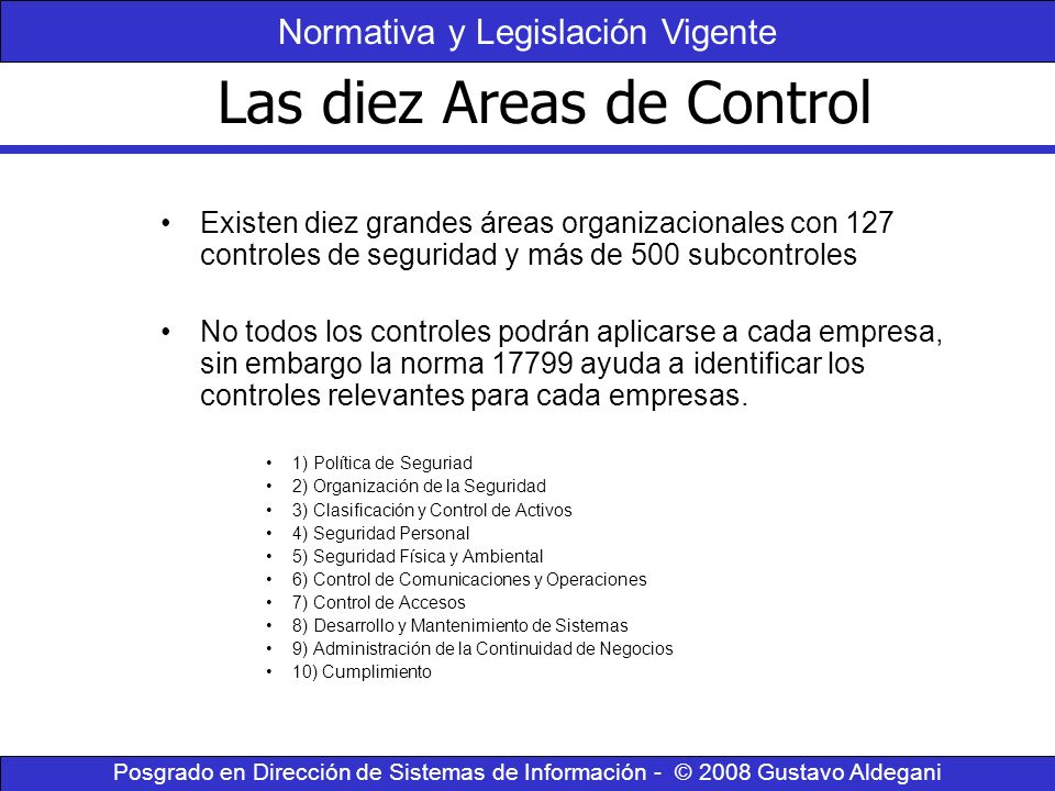 Las diez Areas de Control