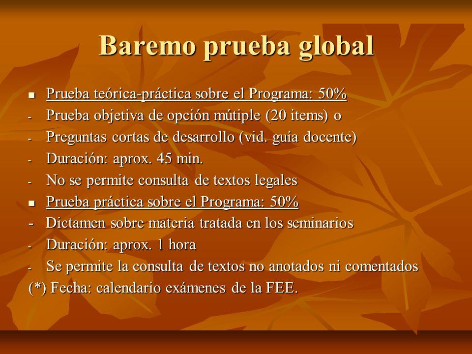 Baremo prueba global Prueba teórica-práctica sobre el Programa: 50%