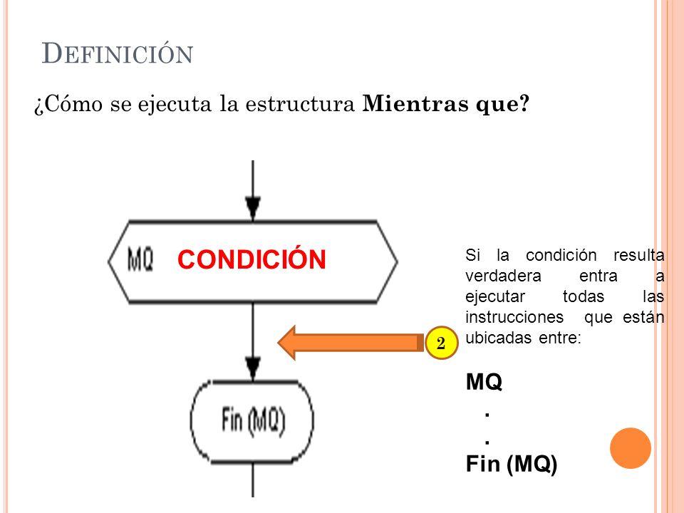 Definición CONDICIÓN ¿Cómo se ejecuta la estructura Mientras que MQ .