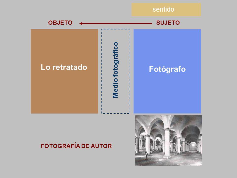 Lo retratado Fotógrafo sentido Medio fotográfico OBJETO SUJETO
