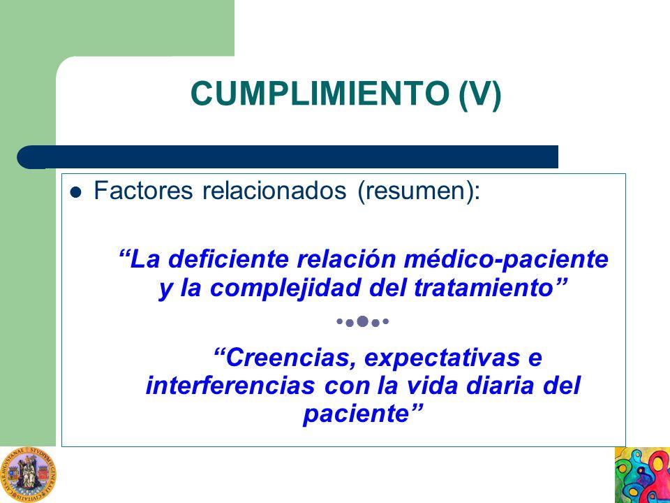 CUMPLIMIENTO (V) Factores relacionados (resumen):