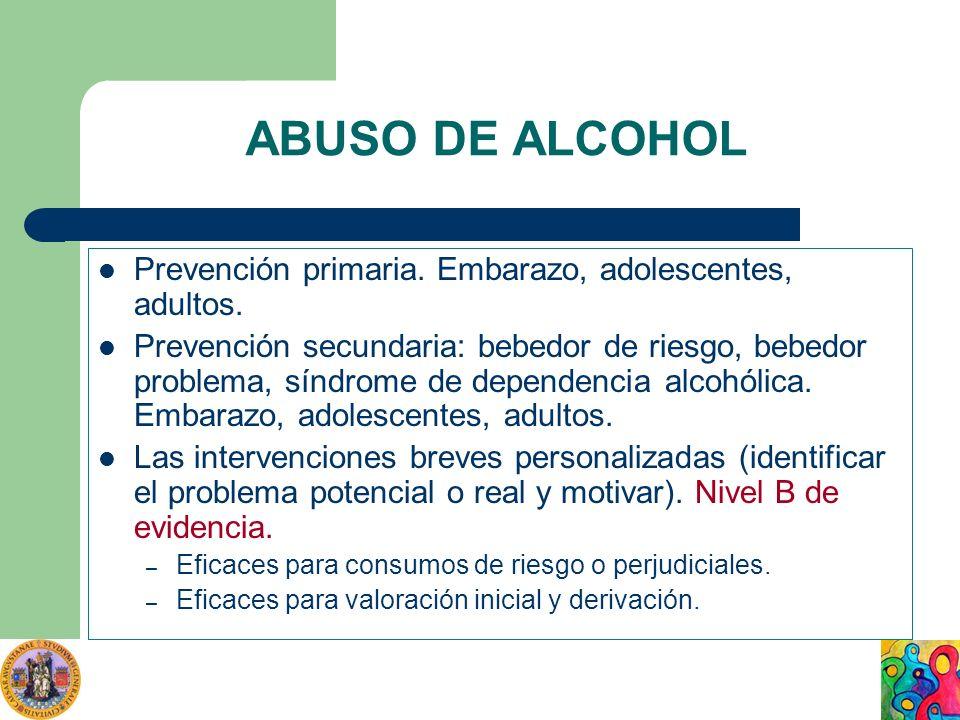 ABUSO DE ALCOHOL Prevención primaria. Embarazo, adolescentes, adultos.