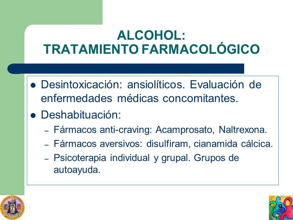 ALCOHOL: TRATAMIENTO FARMACOLÓGICO