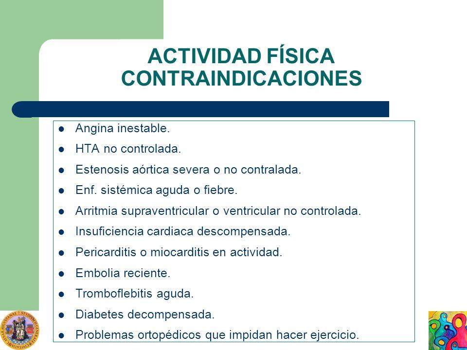 ACTIVIDAD FÍSICA CONTRAINDICACIONES