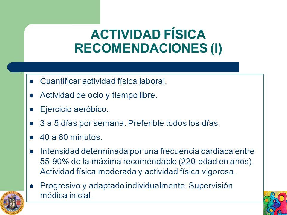 ACTIVIDAD FÍSICA RECOMENDACIONES (I)