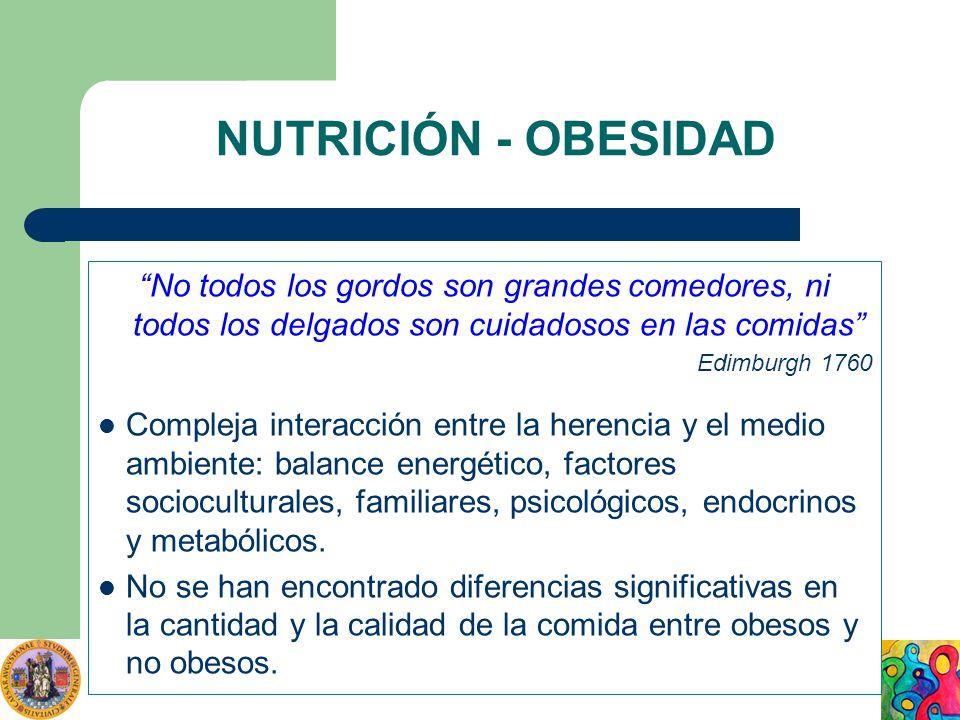 NUTRICIÓN - OBESIDAD No todos los gordos son grandes comedores, ni todos los delgados son cuidadosos en las comidas