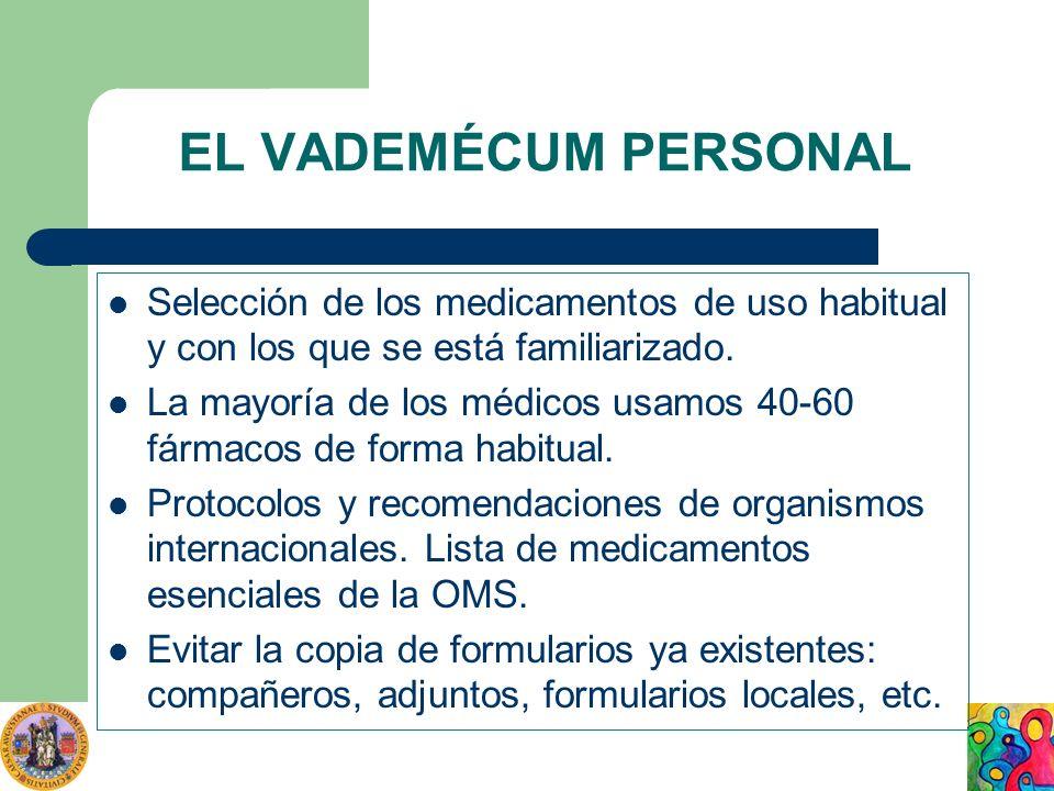 EL VADEMÉCUM PERSONALSelección de los medicamentos de uso habitual y con los que se está familiarizado.