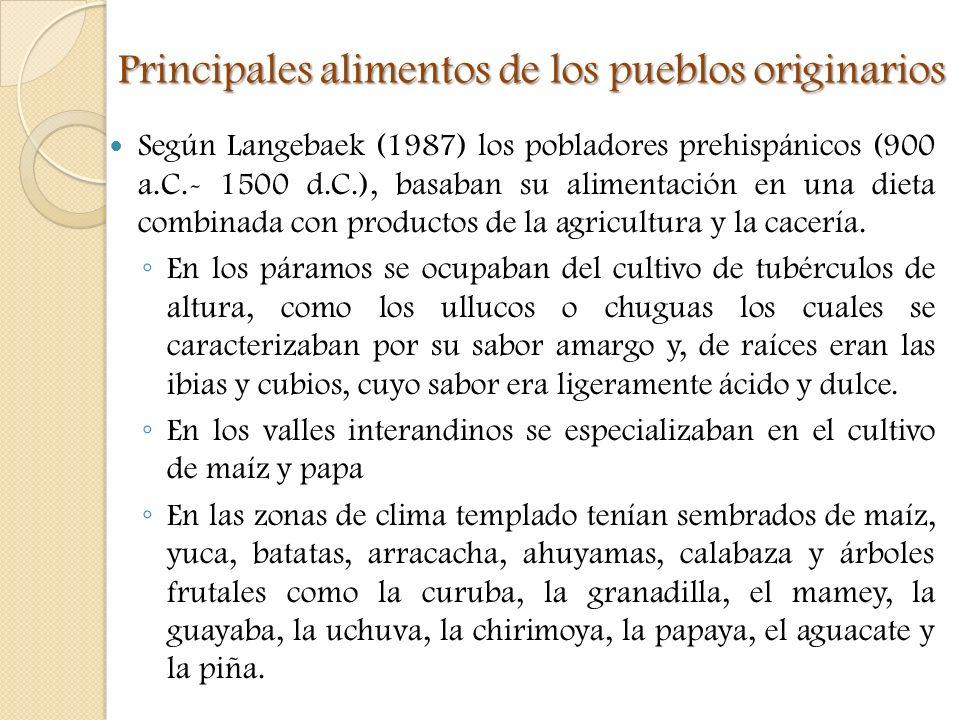 Principales alimentos de los pueblos originarios