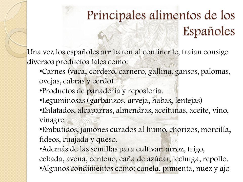 Principales alimentos de los Españoles