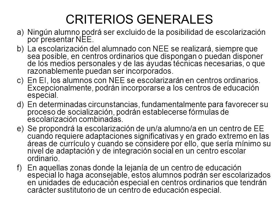 CRITERIOS GENERALES Ningún alumno podrá ser excluido de la posibilidad de escolarización por presentar NEE.