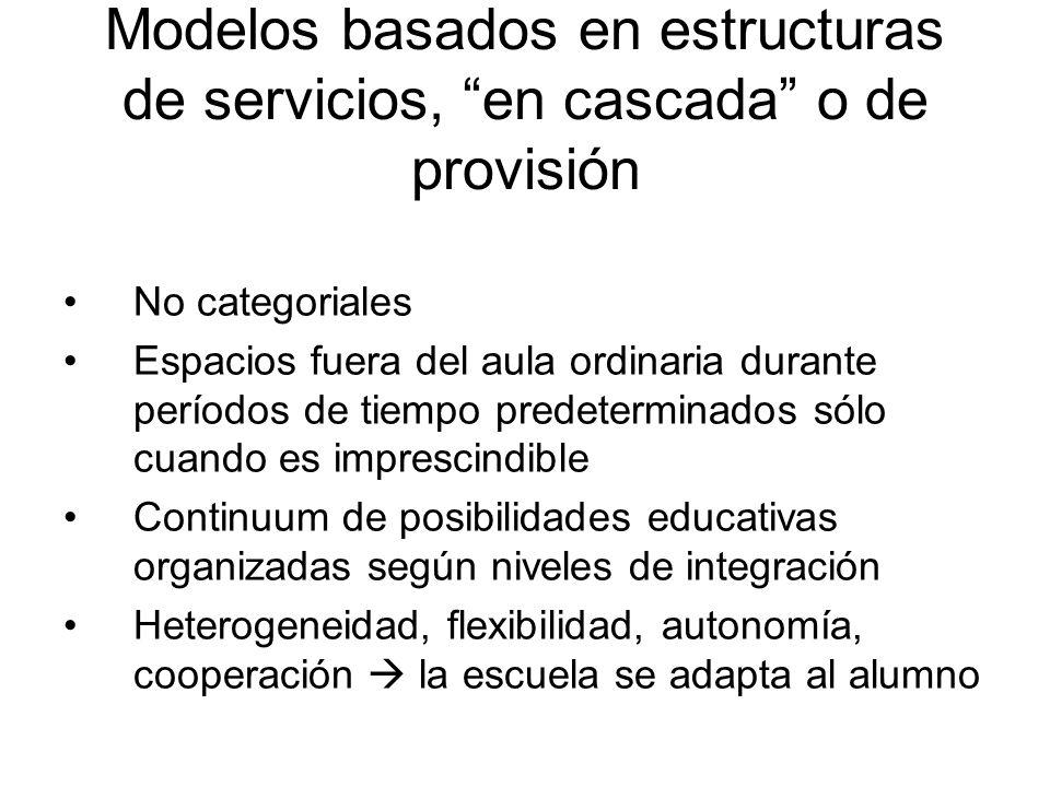 Modelos basados en estructuras de servicios, en cascada o de provisión