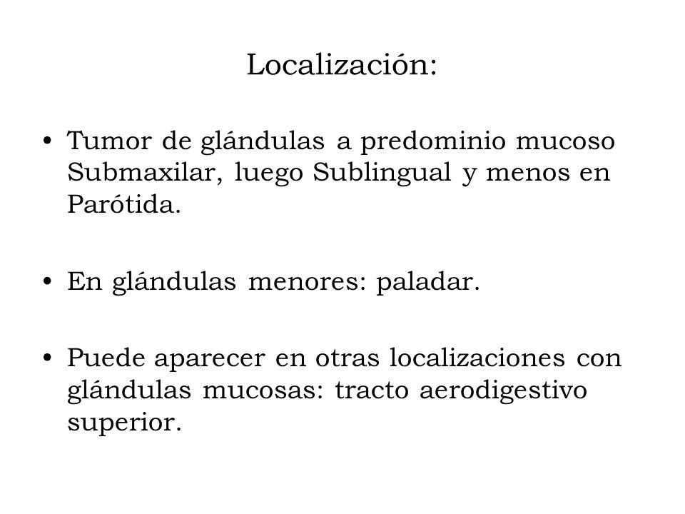 Localización: Tumor de glándulas a predominio mucoso Submaxilar, luego Sublingual y menos en Parótida.