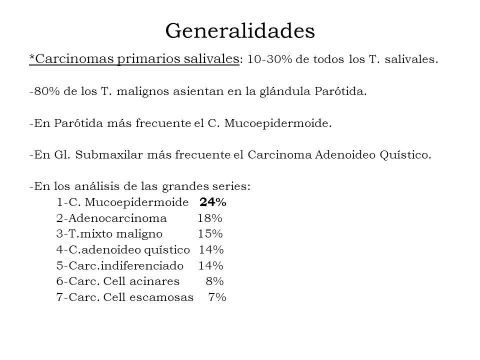 Generalidades *Carcinomas primarios salivales: 10-30% de todos los T. salivales. -80% de los T. malignos asientan en la glándula Parótida.