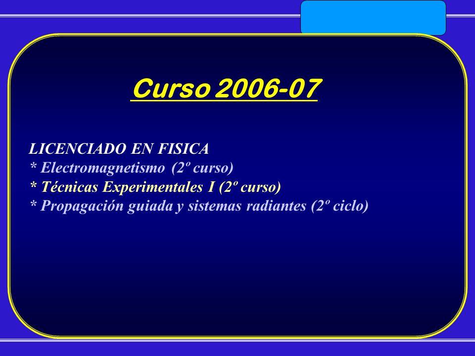 Curso 2006-07 LICENCIADO EN FISICA * Electromagnetismo (2º curso)