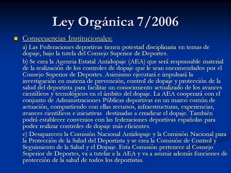Ley Orgánica 7/2006 Consecuencias Institucionales: