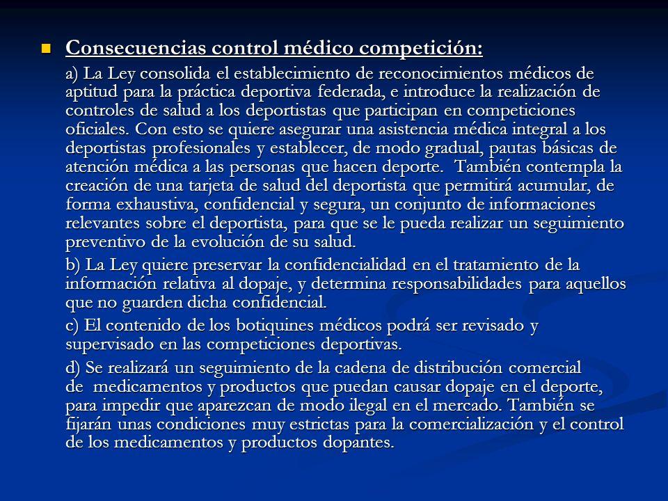 Consecuencias control médico competición: