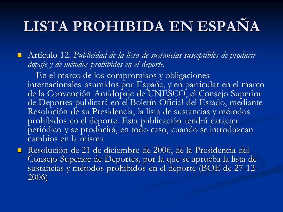 LISTA PROHIBIDA EN ESPAÑA