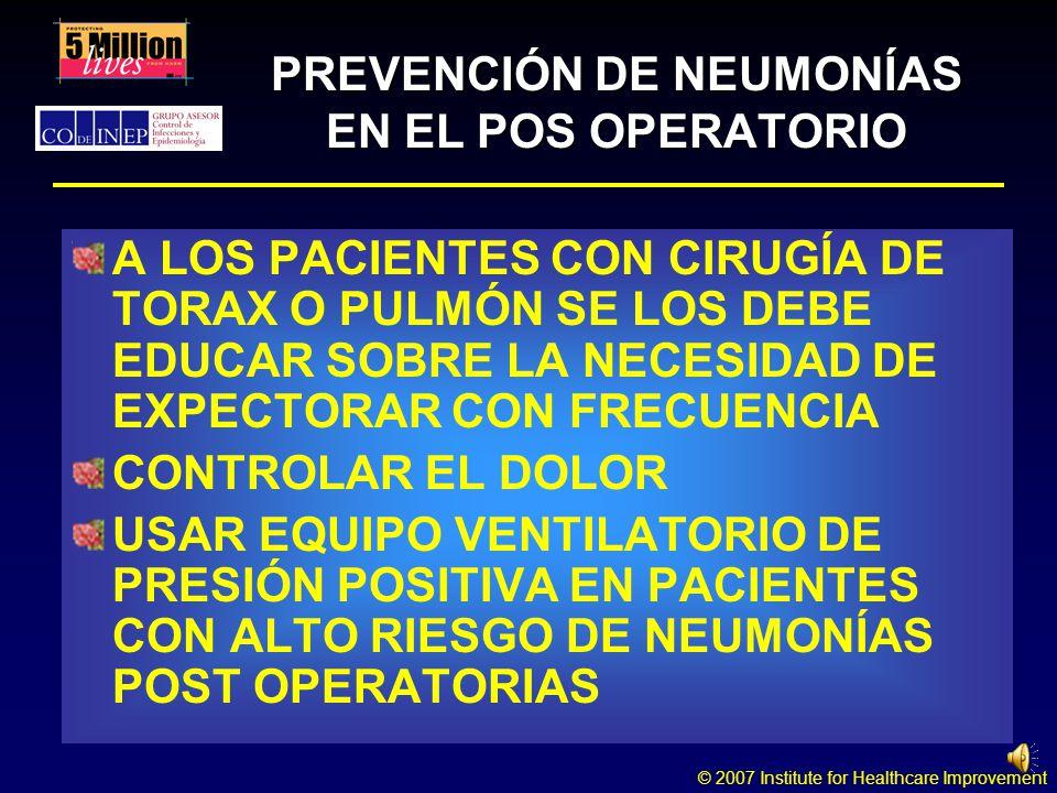 PREVENCIÓN DE NEUMONÍAS EN EL POS OPERATORIO