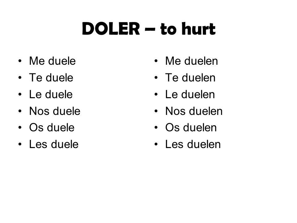 DOLER – to hurt Me duele Te duele Le duele Nos duele Os duele
