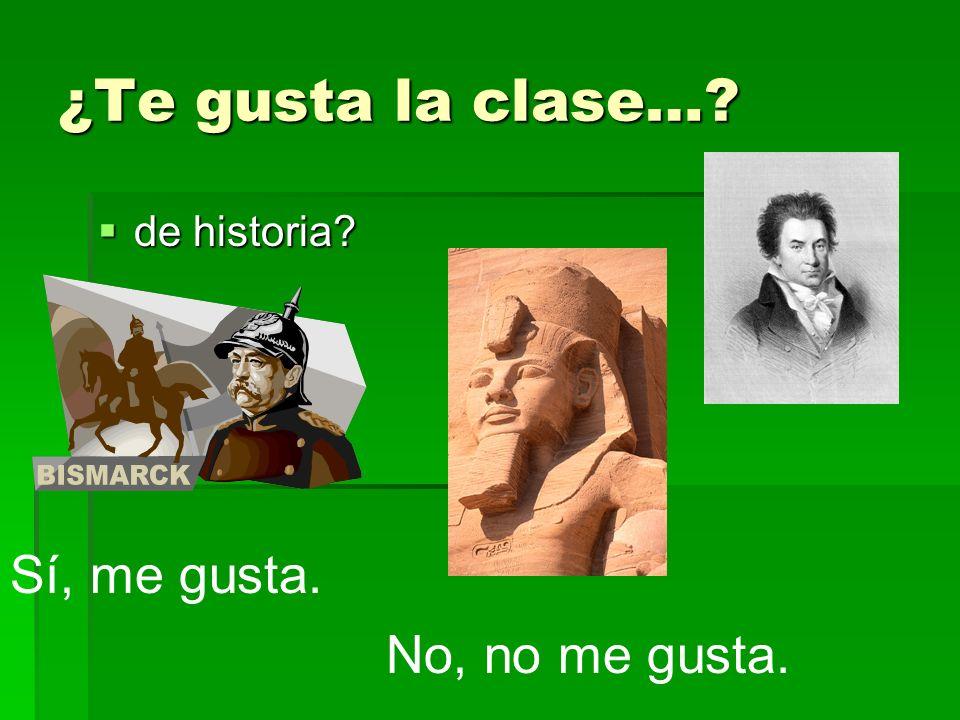 ¿Te gusta la clase… de historia Sí, me gusta. No, no me gusta.